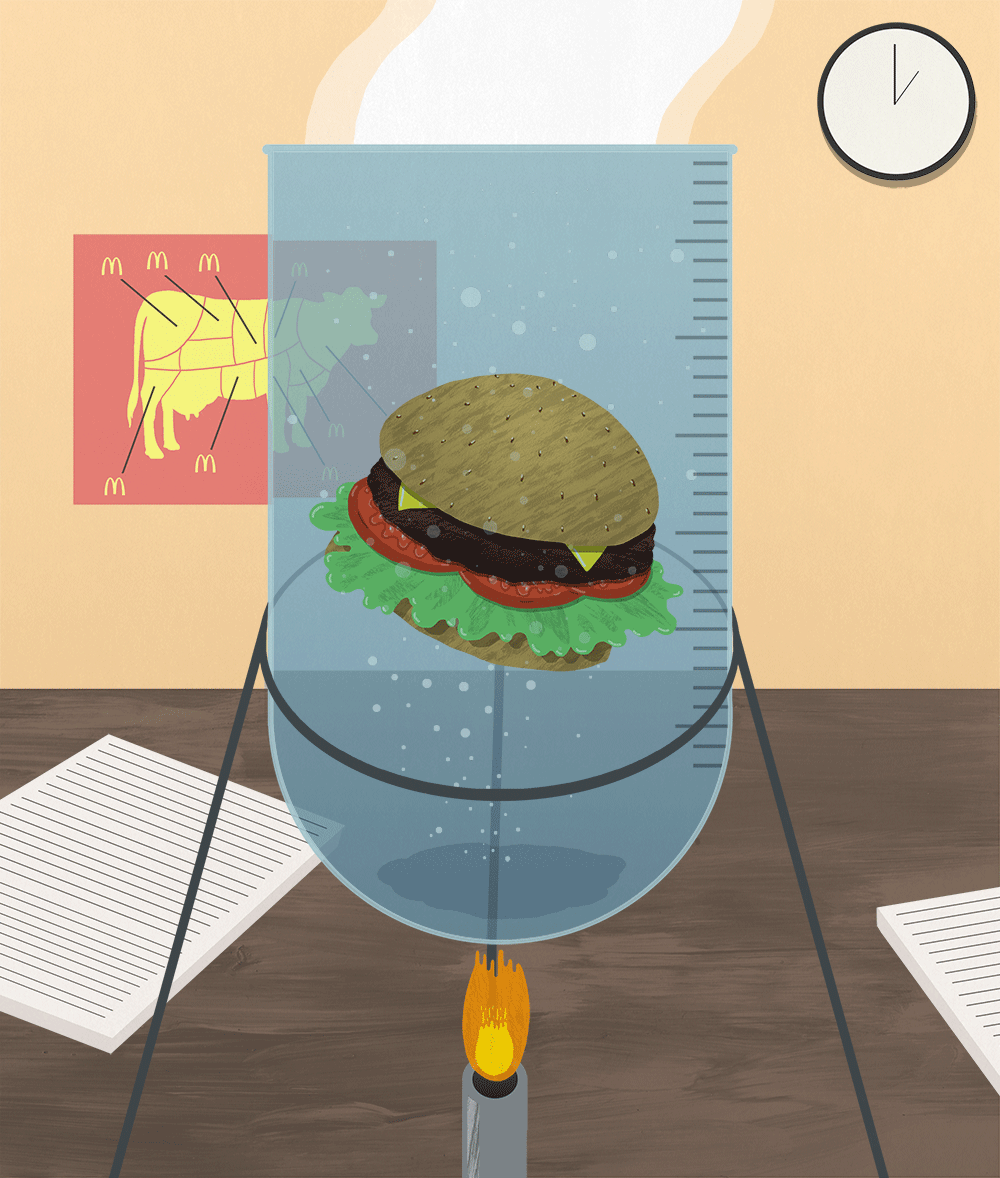 Piece based on the news that lab grown burgers could be on sale within 5 years.